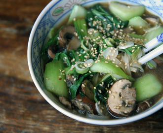 mushroom and bok choy noodle bowl