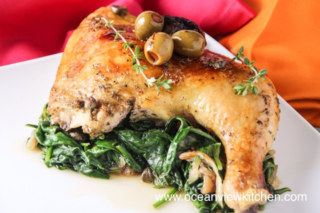 Roasted Chicken with prunes, olives, capers and pomegranate molasses