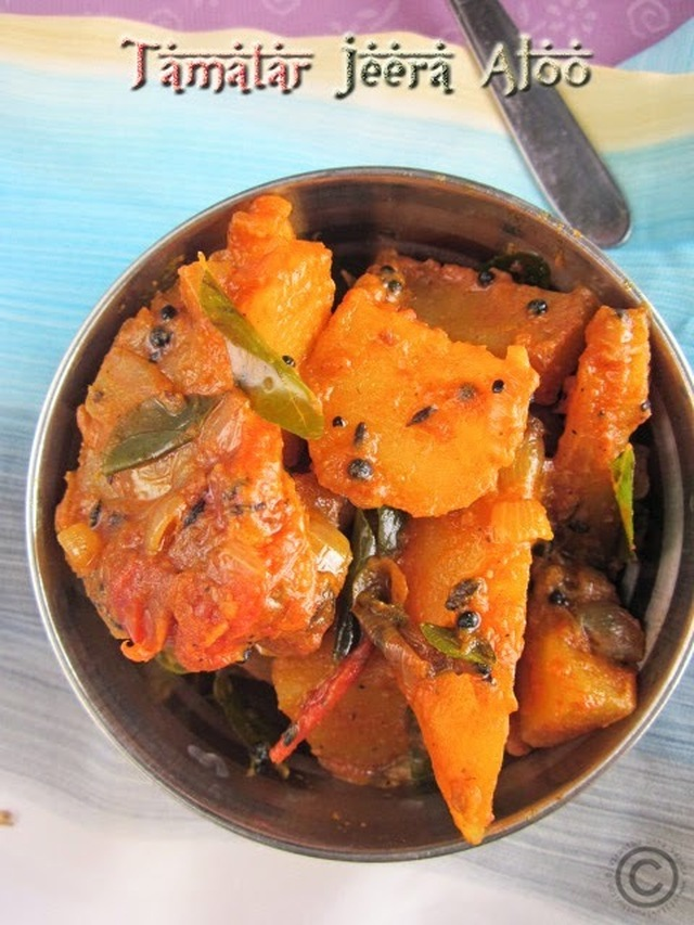 TAMATAR JEERA ALOO I POTATO TOMATO CURRY WITH CUMIN FLAVOR I SIDE DISH RECIPES