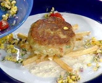 Classic Crab Cakes with a Roasted Corn and Tomato Salad and Fresh Horseradish Sauce