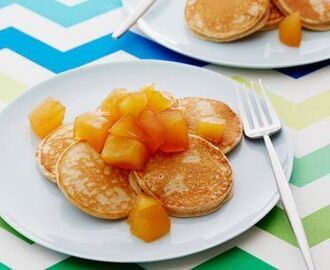 Cinnamon Oatmeal Pancakes with Honey Apple Compote