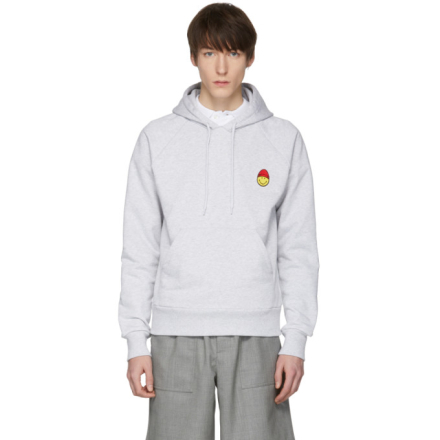 AMI Alexandre Mattiussi Grey Limited Edition Smiley Edition Graphic Hoodie