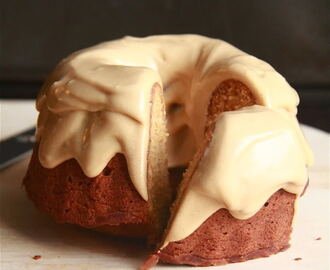 burnt sugar bundt cake with coffee caramel frosting.
