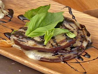 Grilled Eggplant and Manchego Cheese Salad with Fresh Basil and Balsamic-Black Pepper Glaze