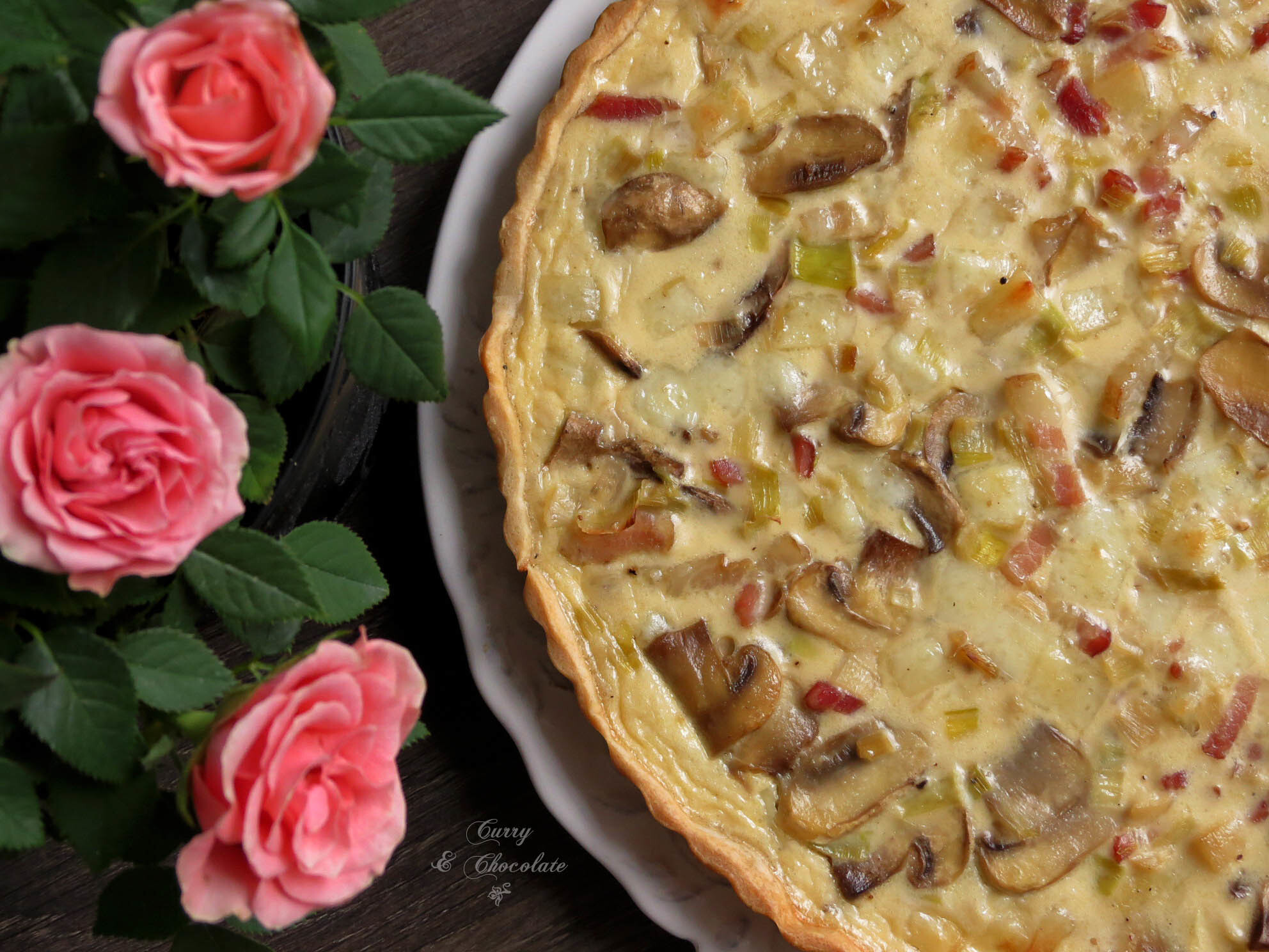 Pastel salado o quiche de champiñones, puerro y bacon – Quiche with mushrooms, leek and bacon