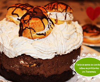 TARTA DE MOUSSE DE CHOCOLATE CON PROFITEROLES CON THERMOMIX