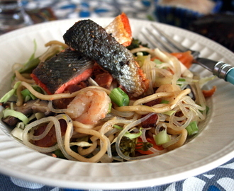 David's Pancit with Bacon, Salmon, Vegetables and more Seafood