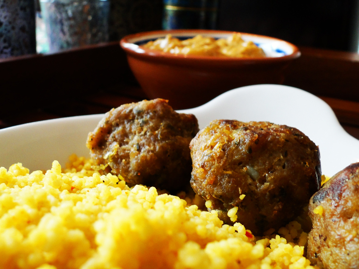 Couscous with Mango Curry And Turmeric Meatballs