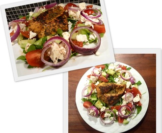 Greek salad and Persian chicken