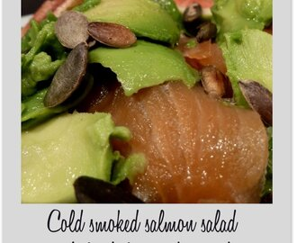 Cold smoked salmon salad with fresh figs and avocado