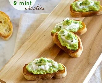 Fava Bean, Burrata, and Mint Crostini