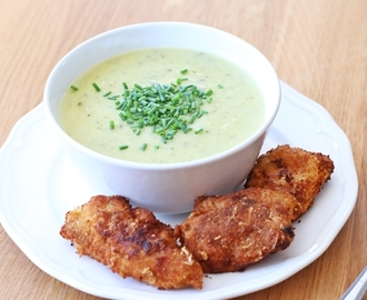 cremige Zucchini Suppe mit knusprigen Chicken Nuggets