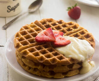 The BEST Waffle Recipe with Strawberries and Cream Sauce {Whole Wheat}