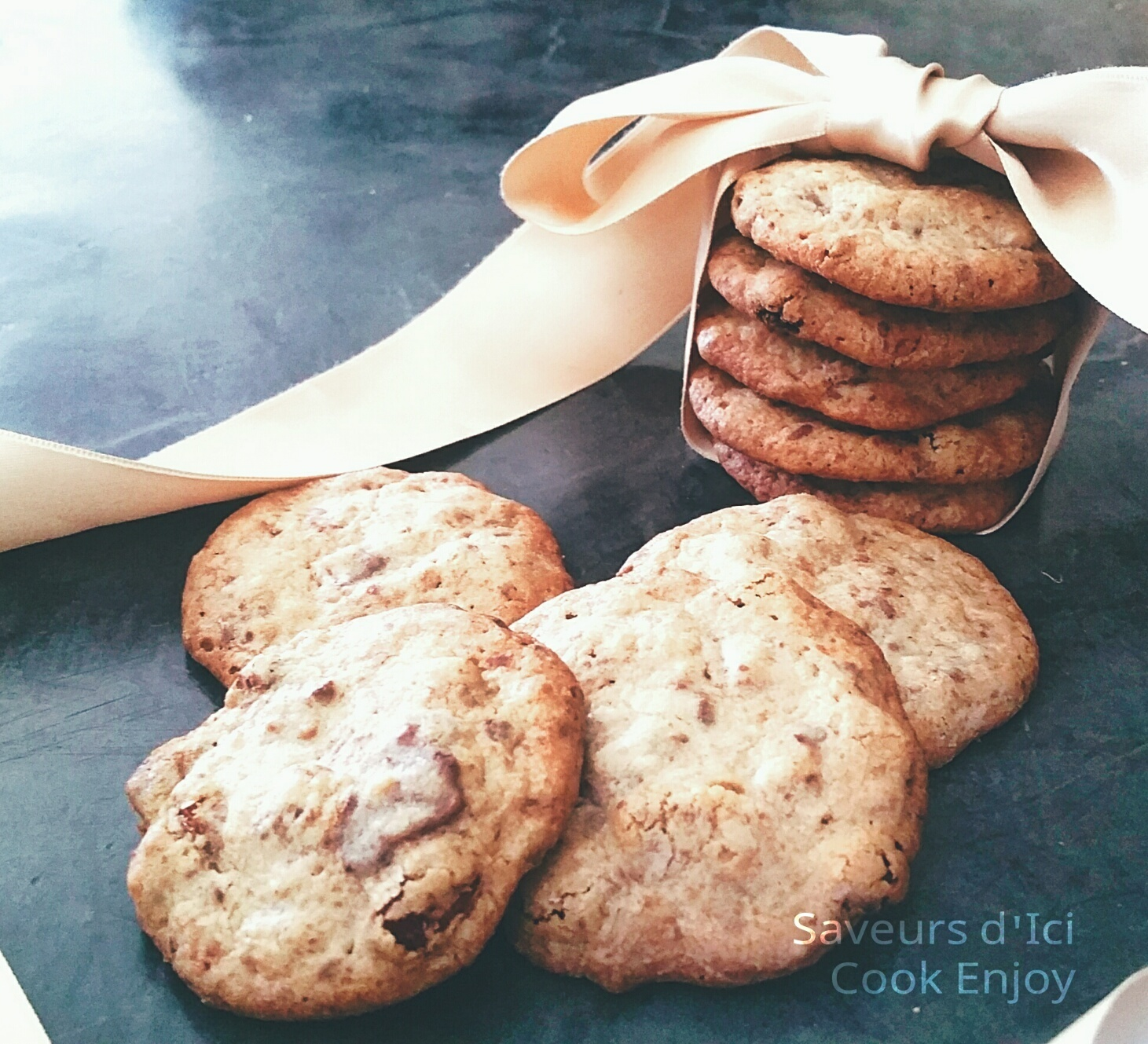 Thermomix : Véritable Cookies Chocolat - Raisin - Praliné