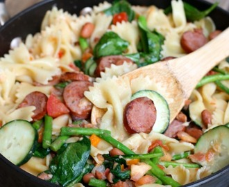 Smoked Sausage, White Bean and Vegetable Pasta