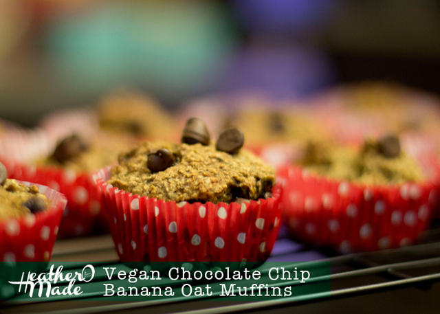 Vegan Chocolate Chip Banana Oat Muffins