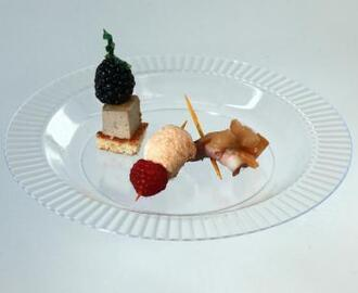 Trio of Flavors on a Stick: Duck Mousse, Duck Breast and Meringue-Berry