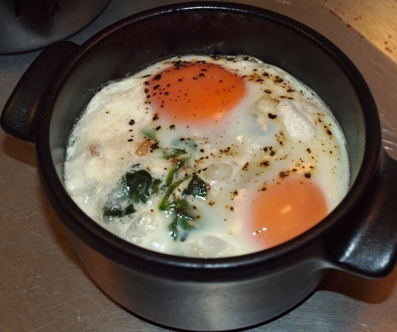 Sunday Breakfast: Eggs en Cocotte with Bacon and Spinach