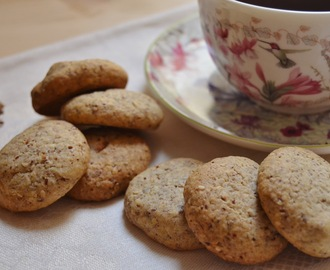 Galletas de avena, sésamo y chocolate blanco.