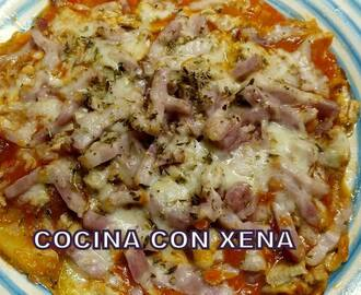 Falsa pizza, con base de patatas