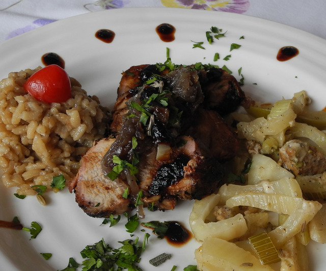 The main attraction: Ancho sauce and caramelized onions adorn Spanish pork loin