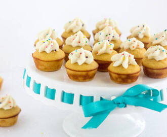 Mini Protein Cupcakes with Funfetti Icing {GF, High Protein, 70 Calories, Low Fat, Super Simple}