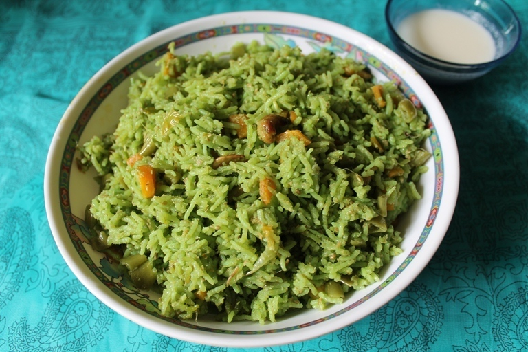 Green Vegetable Biryani / Biryani Cooked in a Coconut & Coriander Masala