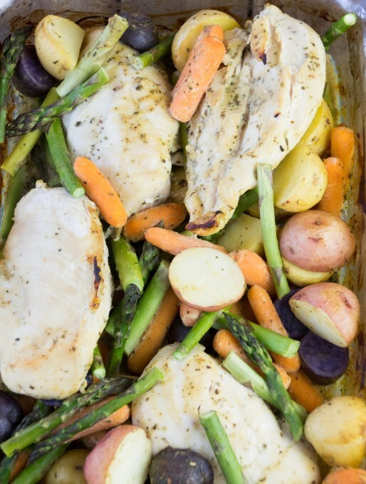 Roasted Chicken, Potatoes and Asparagus