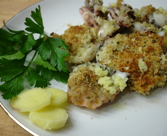 Seppioline gratinate con panure  aromatizzata allo zenzero/Baked Cuttlefishes with breadcrumbs flavored with ginger