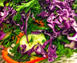 Silver Wolfe Anti Inflammatory Salad  - Layered vegetable salad with parsley & red cabbage