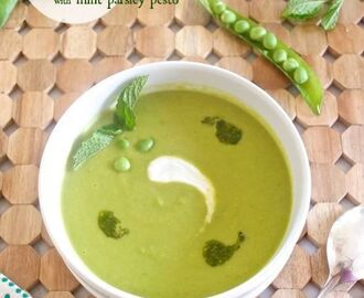 English Pea Soup with Mint Parsley Pesto {Farmer's Market Friday}