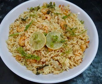 Prawns Pulav Preparation