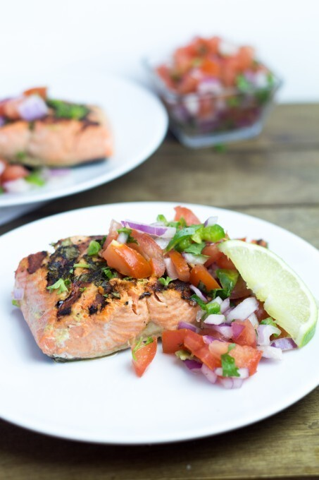 Salmon with Herbs and Tomato Salsa