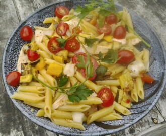 Pasta With Smoked Chicken Breast and Grilled Veggetables