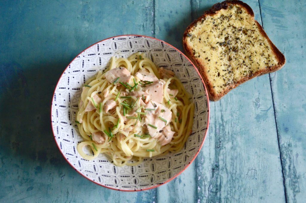 Gluten and Dairy  Free Salmon Linguine