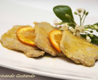 Scaloppine di arista all'arancia