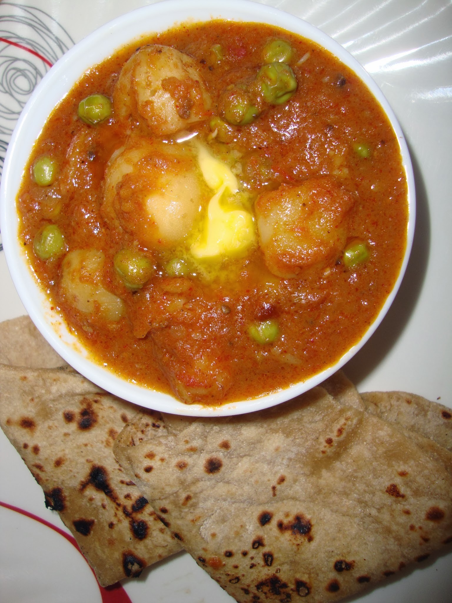 Potato butter masala with peas | Potato peas curry