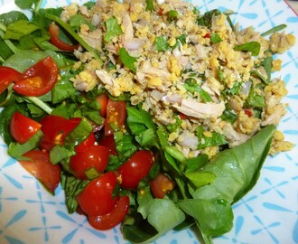 Watercress Salad with Spiced Tuna and Chickpea Couscous and Sorrel Tomatoes Recipe