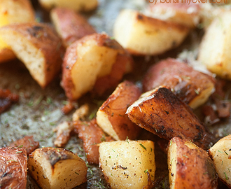 Oven Roasted Potatoes with Bacon, Garlic, and Parmesan