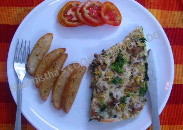Chicken-Spinach Frittata in Microwave