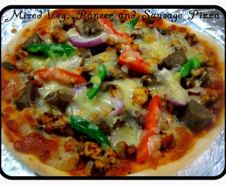 Vegetable , Paneer and Sausage Pizza