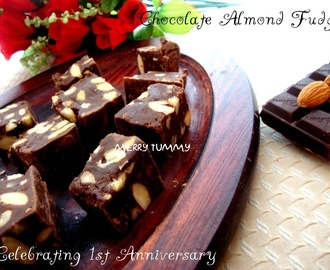 Chocolate Almond Fudge - Celebrating One Year Of Blogging