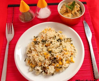 Corn & Methi Pulao - Corn & Fenugreek leaves pulao.