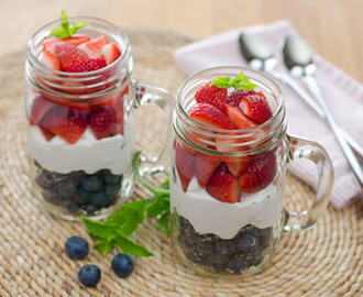 Red, White and Blue Berries and Cream