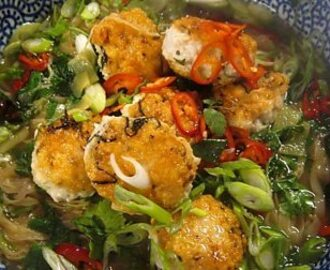 Chicken meatballs in Asian-style noodle broth