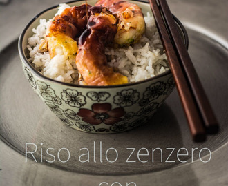 Riso allo zenzero con gamberi glassati / Ginger rice & glazed shrimp