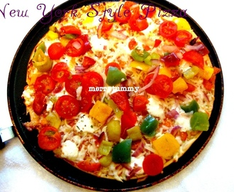 New York Style Pizza, From Scratch With Vegetables Toppings