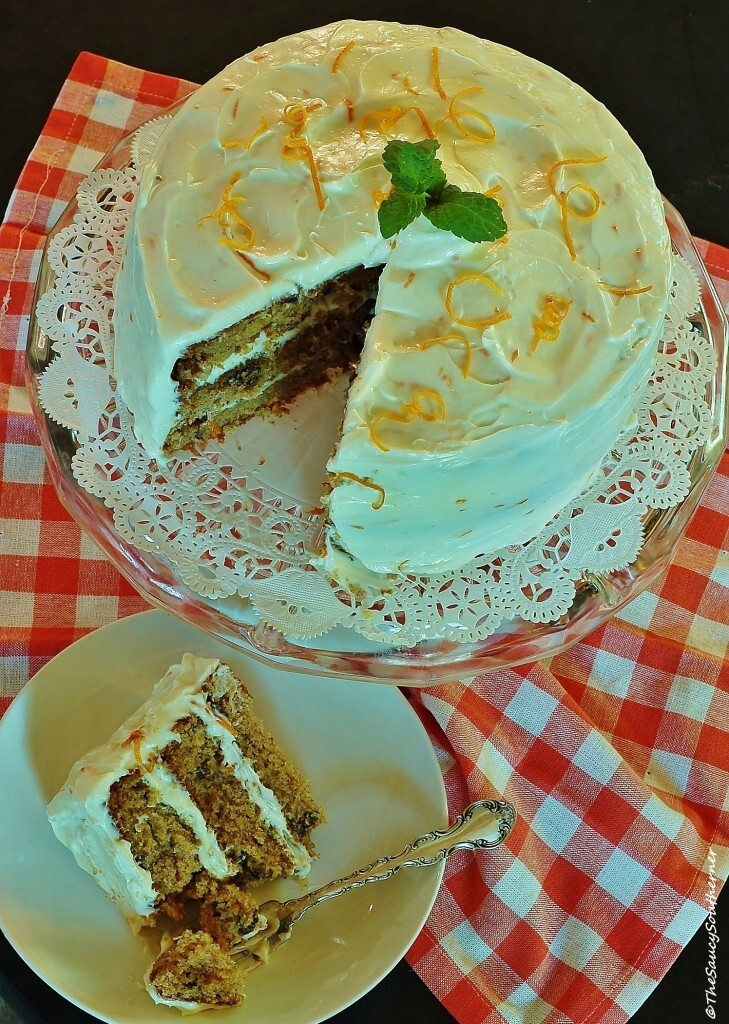 Orange Pecan Spice Cake with Orange Cream Cheese Frosting