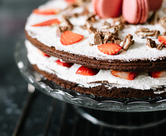 Recipe: Chocolate & Strawberry Macaron Cake
