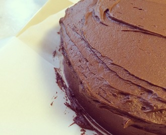 dark chocolate birthday cake with malted chocolate buttercream frosting